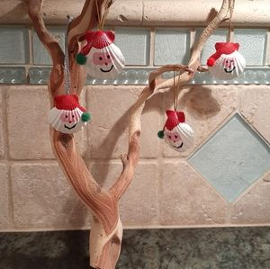 Santa Shell Ornaments set of 4